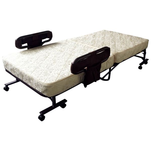 電気式 折りたたみベッド/寝具 【ポケットコイルタイプ ベージュ】 幅101cm キャスター 手すり付 『マットが選べる電動ベッド』