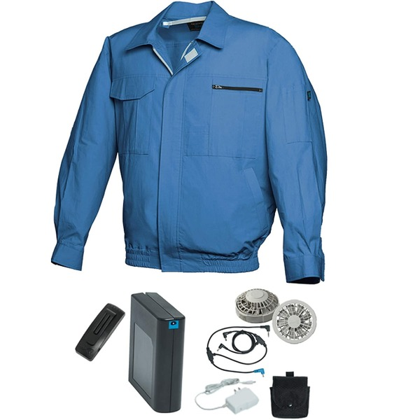 空調服/作業着 【L ライトブルー シルバーファン】 バッテリーセット 綿100% 吸収性 着心地・肌触り抜群 『FAN FIT FF91800』