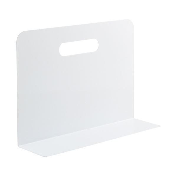 (まとめ)LIHITLAB ブックエンド・ワイド A7352-0 白(×10セット)