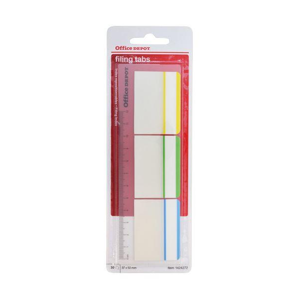 (まとめ) オフィスデポ 粘着メモ インデックスフィルムタイプ 3.7×5.0cm ストライプ3色 定規付 144179 1パック(3冊) 【×30セット】