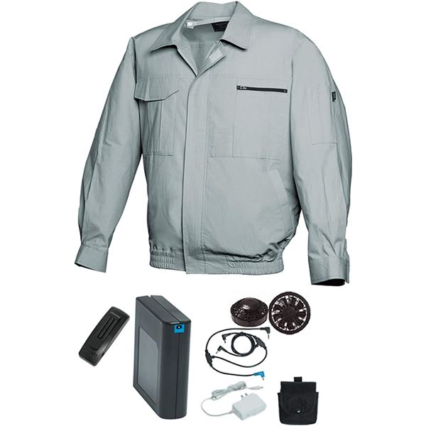 空調服/作業着 【XL モスグリーン ブラックファン】 バッテリーセット 綿100% 吸収性 着心地・肌触り抜群 『FAN FIT FF91800』