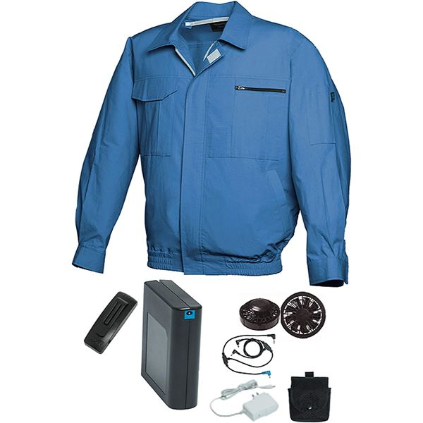 空調服/作業着 【L ライトブルー ブラックファン】 バッテリーセット 綿100% 吸収性 着心地・肌触り抜群 『FAN FIT FF91800』