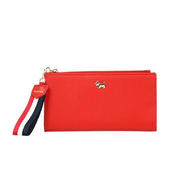 気張らず それでいてラフになりすぎない大人の女性の財布 大人気! AGATHA アガタ 代引不可 AGT193-303 祝日 ストラップ付二つ折り長財布 レッド