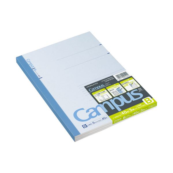B罫 40枚 キャンパスノート(中横罫)セミB5 ノ-4BNX3 1セット(120冊:3冊×40パック) コクヨ