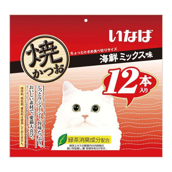 (まとめ)いなば 焼かつお12本入り海鮮ミックス味 12本 (ペット用品・猫フード)【×12セット】