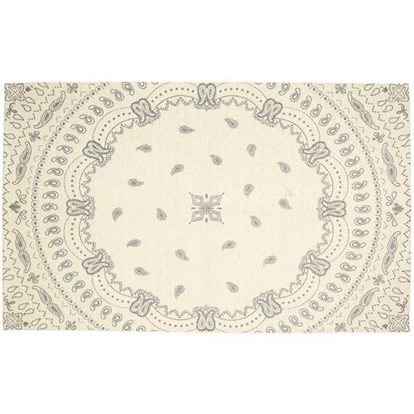 ブルックリン風 ラグマット/絨毯 【約130cm×190cm アイボリー】 長方形 洗える 防滑 『リブサークル』 〔リビング ダイニング〕