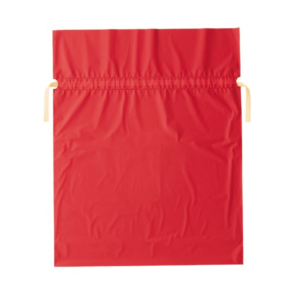 (まとめ)店研創意 ストア・エキスプレス梨地リボン付ギフトバッグ レッド 45cm 1パック(20枚)【×5セット】