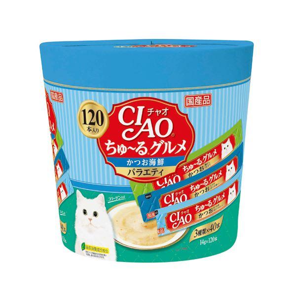 (まとめ)CIAO ちゅ~る グルメかつお海鮮バラエティ 14g×120本 (ペット用品・猫フード)【×4セット】
