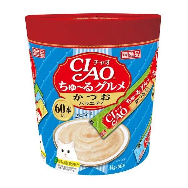 (まとめ)CIAO ちゅ~る グルメ かつおバラエティ 14g×60本 (ペット用品・猫フード)【×8セット】