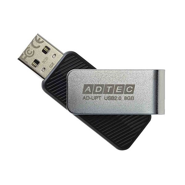 アドテック USB2.0回転式フラッシュメモリ 8GB ブラック AD-UPTB8G-U2R 1セット(10個)