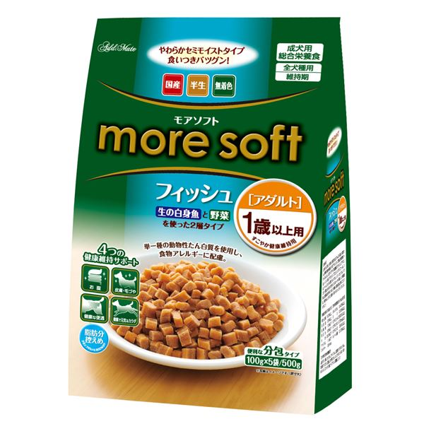 (まとめ)アドメイト more soft フィッシュ アダルト 500g(100g×5袋)【×12セット】【ペット用品・犬用フード】