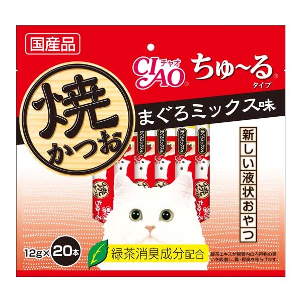 (まとめ)CIAO 焼かつお ちゅ~るタイプ 20本入りまぐろミックス味 (ペット用品・猫フード)【×16セット】