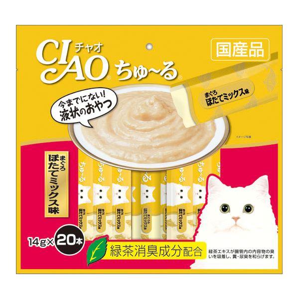 (まとめ)CIAO ちゅ~る まぐろ ほたてミックス味 14g×20本 (ペット用品・猫フード)【×16セット】