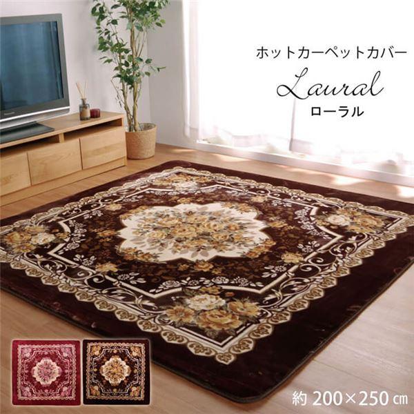 ベルベット調 ラグマット/絨毯 【ブラウン 約200×250cm】 長方形 洗える 防滑加工 〔リビング〕