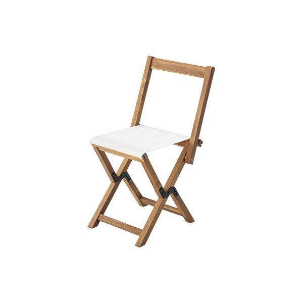 モダン 折りたたみ椅子 3脚セット 【アイボリー】 幅42cm 木製 オイル仕上 ポリエステル 〔アウトドア イベント レジャー〕