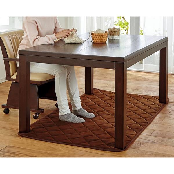 ダイニング こたつテーブル 本体 【幅80cm ベージュ】 木製脚付き 『5つ星機能のあったかダイニング』 〔リビング〕