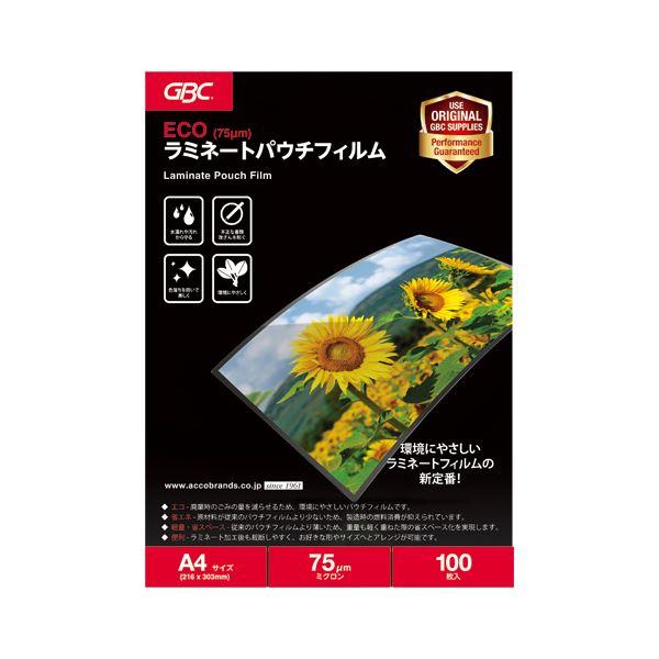 (まとめ) GBC ECOパウチフィルム 75μ A4 100枚入【×5セット】
