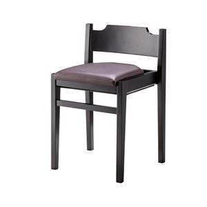 ダイニングチェア/食卓椅子 【2脚セット ブラウン】 幅41×奥行39×高さ62cm 木製 合皮張地 『リエートチェア』 〔リビング〕
