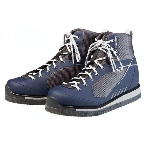 軽量 登山靴/トレッキングシューズ 【ネイビー 25.5cm】 日本製フェルトソール 合皮/合成皮革 『渓流 ケイリュウ KR_5F』