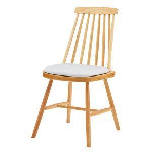 ダイニングチェア/食卓椅子 【2脚組 ナチュラル】 幅41×奥行51×高さ82cm 木製 ソフトレザー 〔リビング 店舗〕