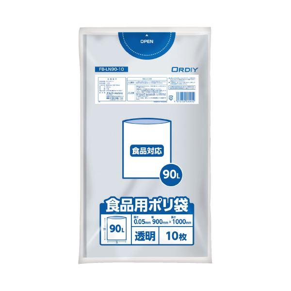 (まとめ)オルディ 食品用ポリ袋 90L 透明 10枚(×20セット)