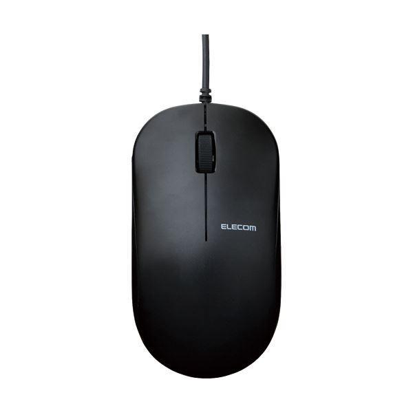 (まとめ)エレコム 有線3ボタンBlueLEDマウス ブラック M-K7UBBK/RS 1個【×5セット】