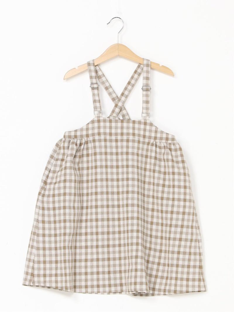 予約販売品 新作からSALEアイテム等お得な商品 満載 LOWRYS FARM キッズ スカート ローリーズファーム SALE 42%OFF K RBA_E キッズスカート Fashion ギンガムジャンスカ ベージュ ブルー Rakuten