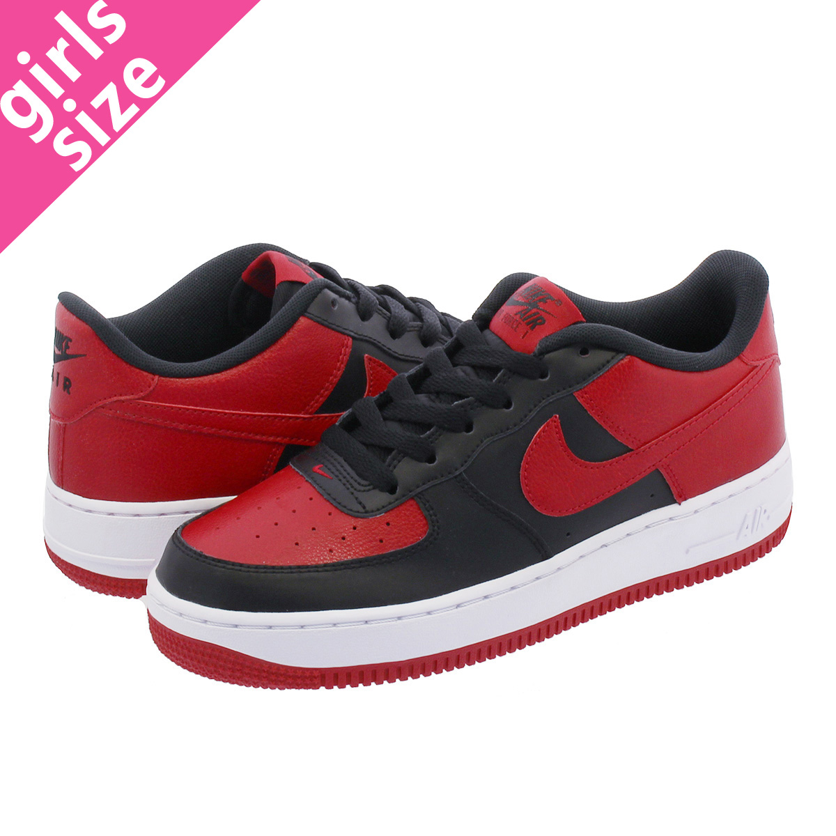 wholesale dealer 9c191 f0db8 NIKE AIR FORCE 1 GS Nike air force 1 GS BLACK GYM RED WHITE ...