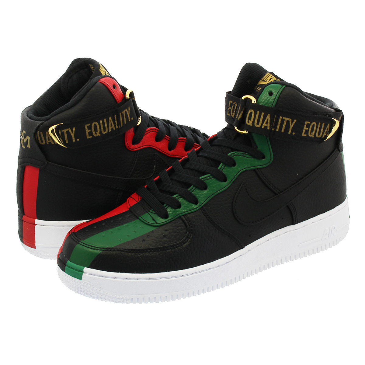 NIKE AIR FORCE 1 HIGH BHM 2018 Nike air force 1 high BHM 2018 BLACK UNIVERSITY  RED PINE GREEN 72601a96d