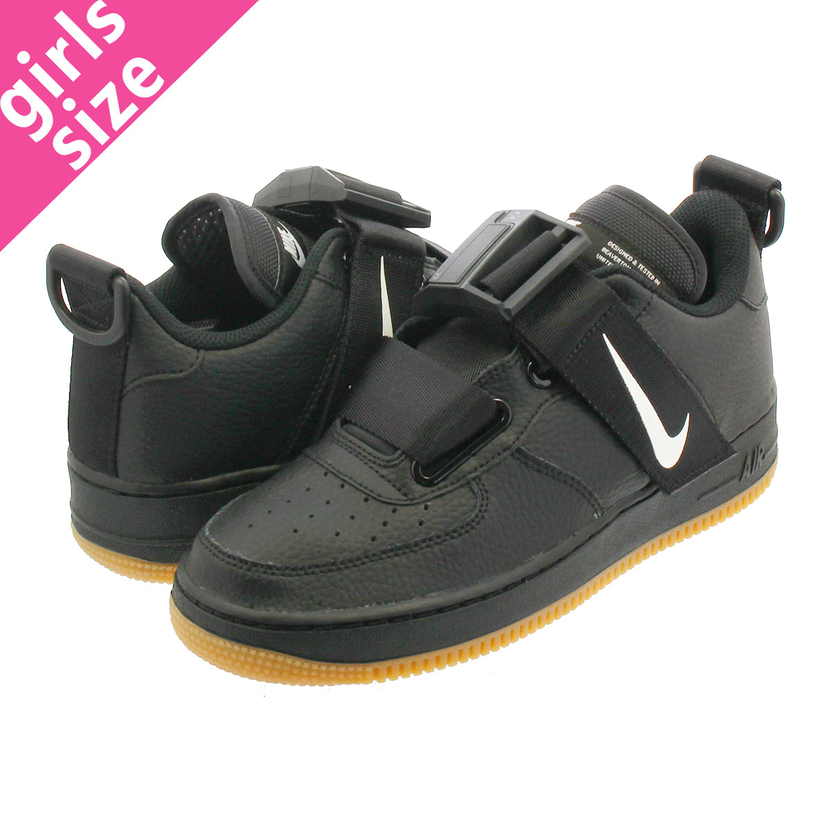 NIKE AIR FORCE 1 UTILITY GS Nike air force 1 UTILITY GS BLACKWHITEGUM MED BROWN aj6601 003