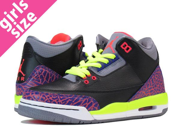 info for 90b1a 38c25 NIKE AIR JORDAN 3 RETRO GS Nike Air Jordan 3 retro GS BLACK PURPLE VOLT