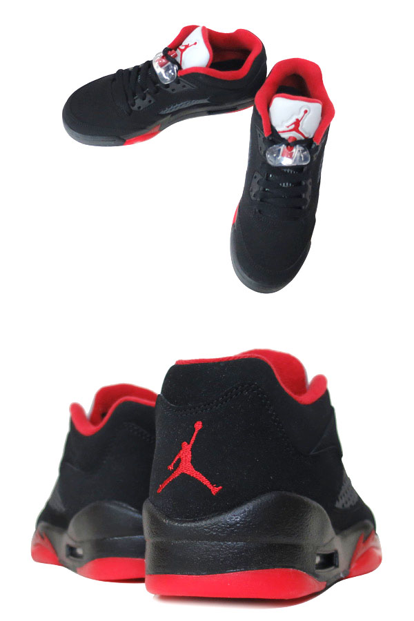 reputable site a885c 69a6b NIKE AIR JORDAN 5 RETRO LOW GS Nike Air Jordan 5 nostalgic low GS BLACK GYM  RED METALLIC HEMATITE 314,338-001