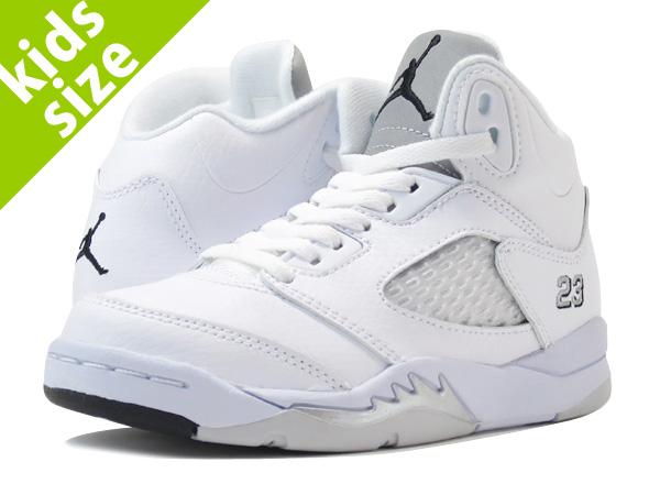 sale retailer 39f06 aeadf NIKE AIR JORDAN 5 RETRO PS Nike Air Jordan 5 retro PS WHITE METALLIC SILVER  BLACK