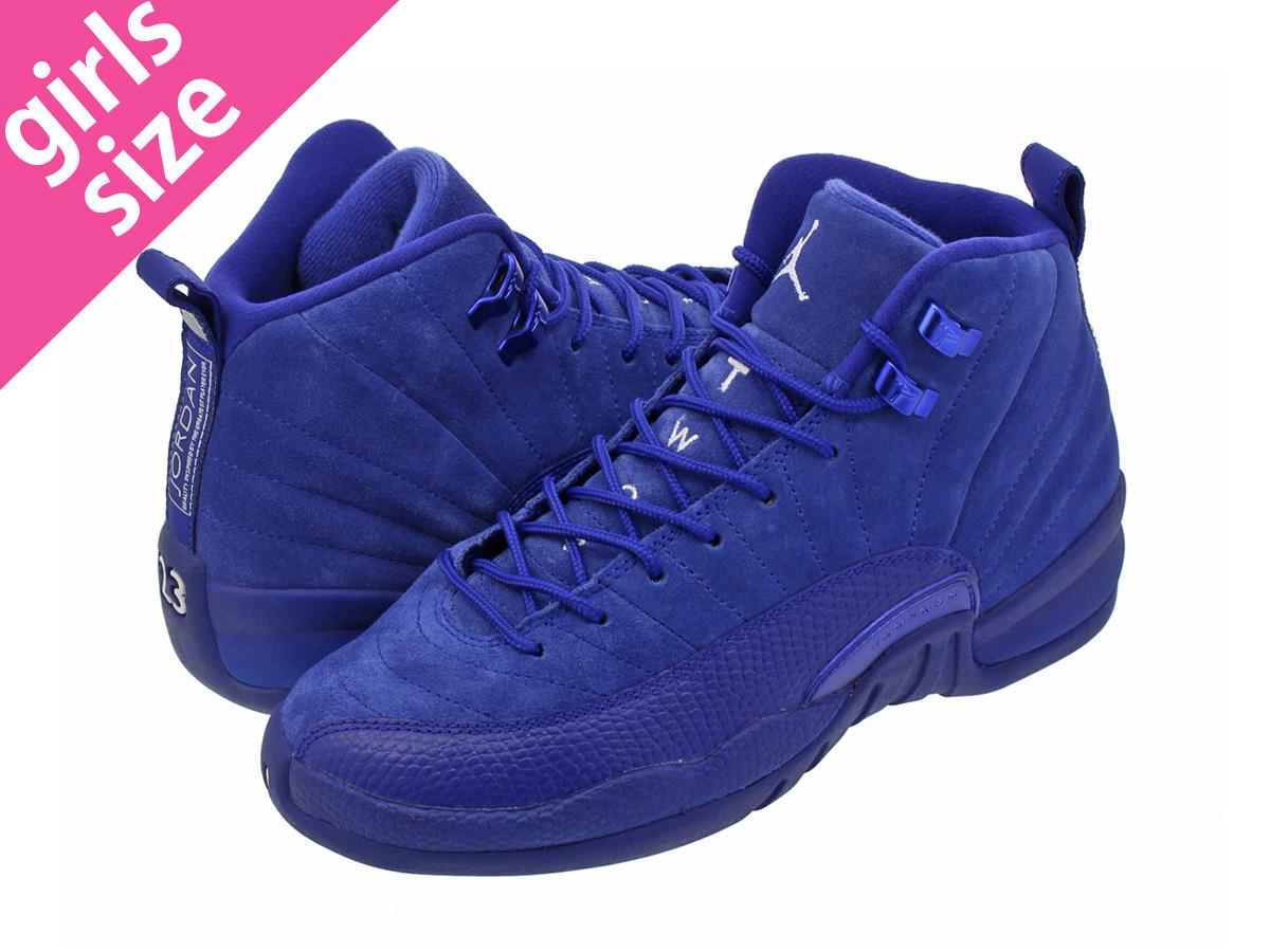 ecc0d0b9370e NIKE AIR JORDAN 12 RETRO BG Nike Air Jordan 12 nostalgic BG DEEP ROYAL BLUE METALLIC  SILVER WHITE 153