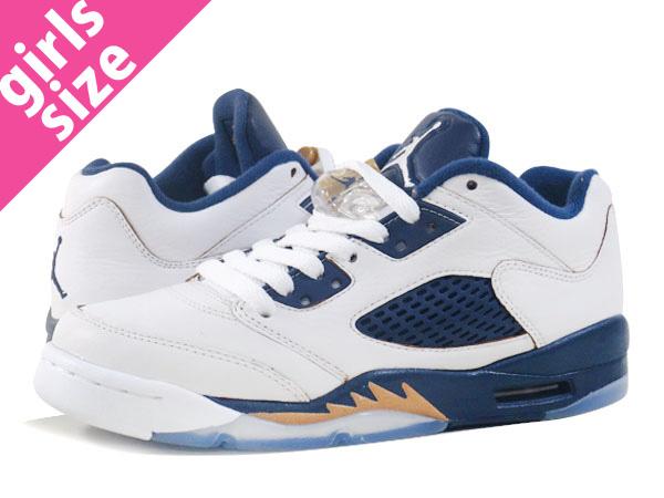 3339801ac755bb NIKE AIR JORDAN 5 RETRO LOW GS Nike Air Jordan retro 5 low GS  WHITE GOLD NAVY