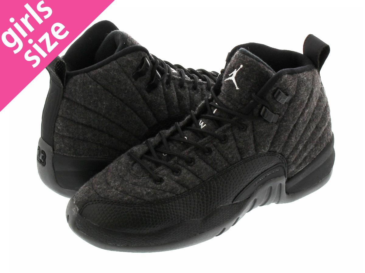 newest 5b979 04014 NIKE AIR JORDAN 12 RETRO WOOL BG Nike Air Jordan 12 nostalgic wool BG DARK  GREY METALLIC SILVER BLACK 852,626-003