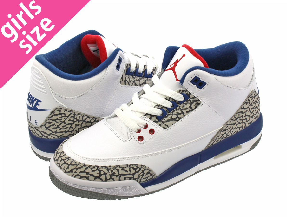low priced fc91d c2742 NIKE AIR JORDAN 3 RETRO OG BG Nike Air Jordan 3 nostalgic OG BG WHITE FIRE  RED TRUE BLUE CEMENT GREY 854,261-106