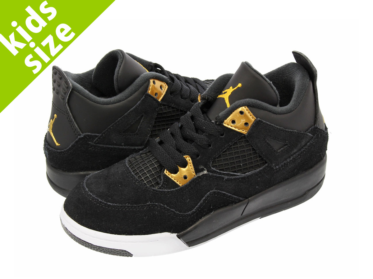 NIKE AIR JORDAN 4 RETRO BP Nike Air Jordan 4 nostalgic BP BLACK/METALLIC GOLD/WHITE