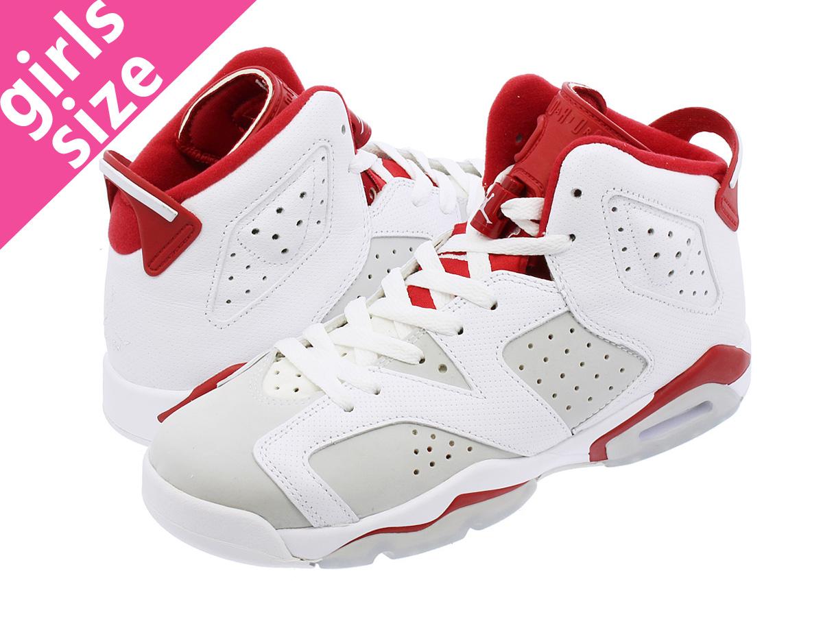 NIKE AIR JORDAN 6 RETRO BG Nike Air Jordan 6 nostalgic BG  WHITE PLATINUM GYM RED ed4cc00e086