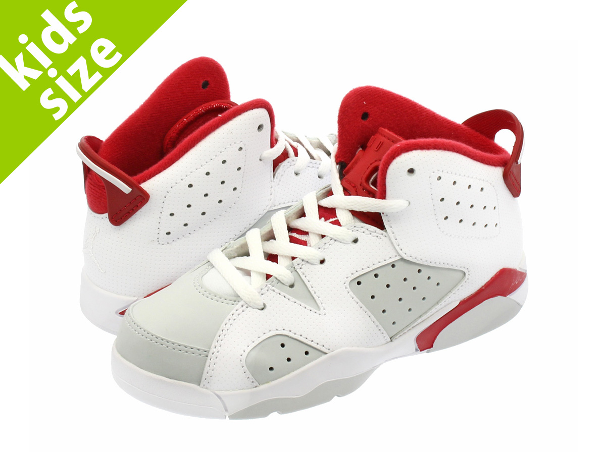 bfa30d6a49e NIKE AIR JORDAN 6 RETRO PS Nike Air Jordan 6 nostalgic PS  WHITE/PLATINUM/GYM RED