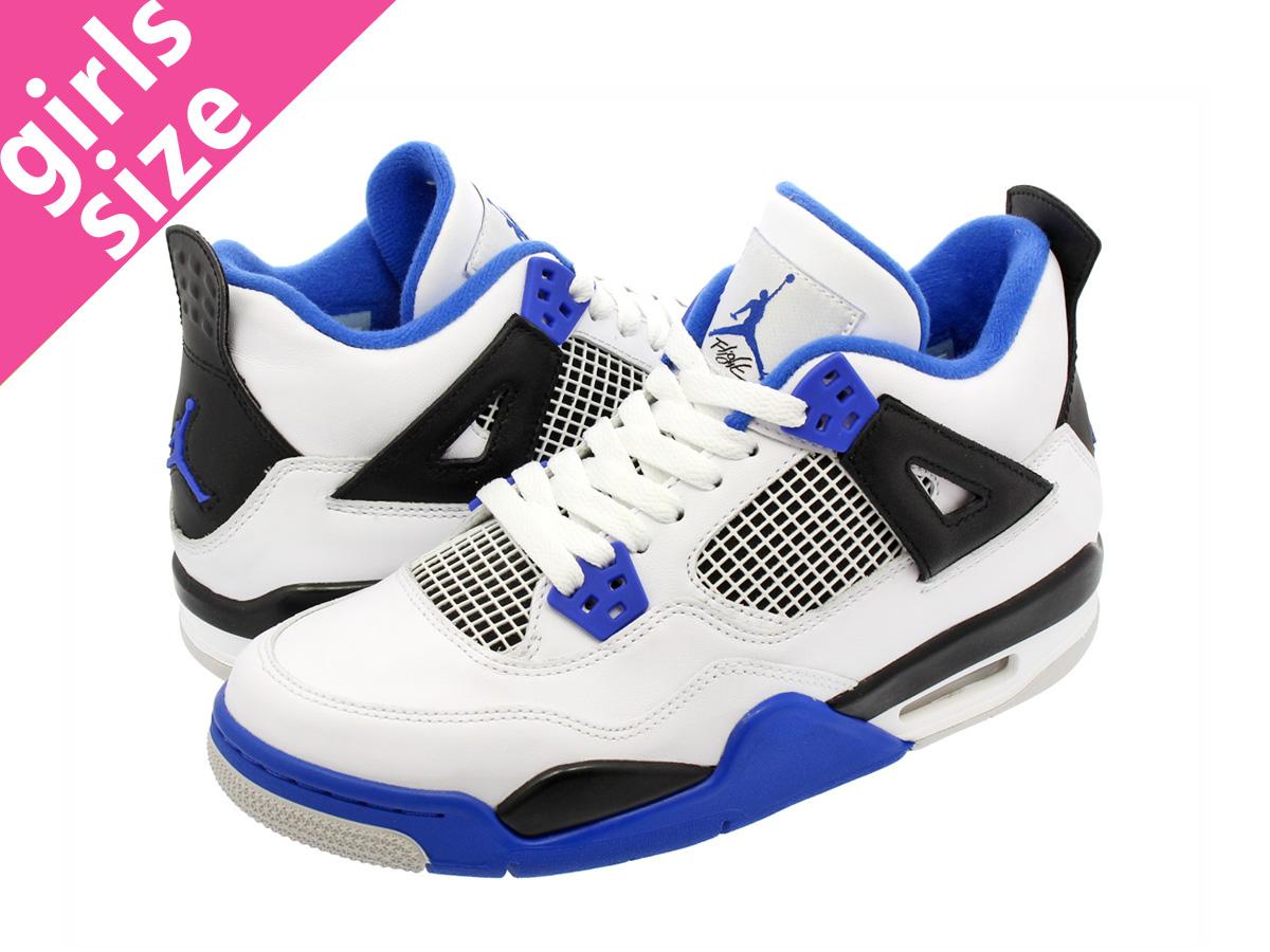 97193778b9f NIKE AIR JORDAN 4 RETRO BG Nike Air Jordan 4 nostalgic BG WHITE GAME  ROYAL BLACK