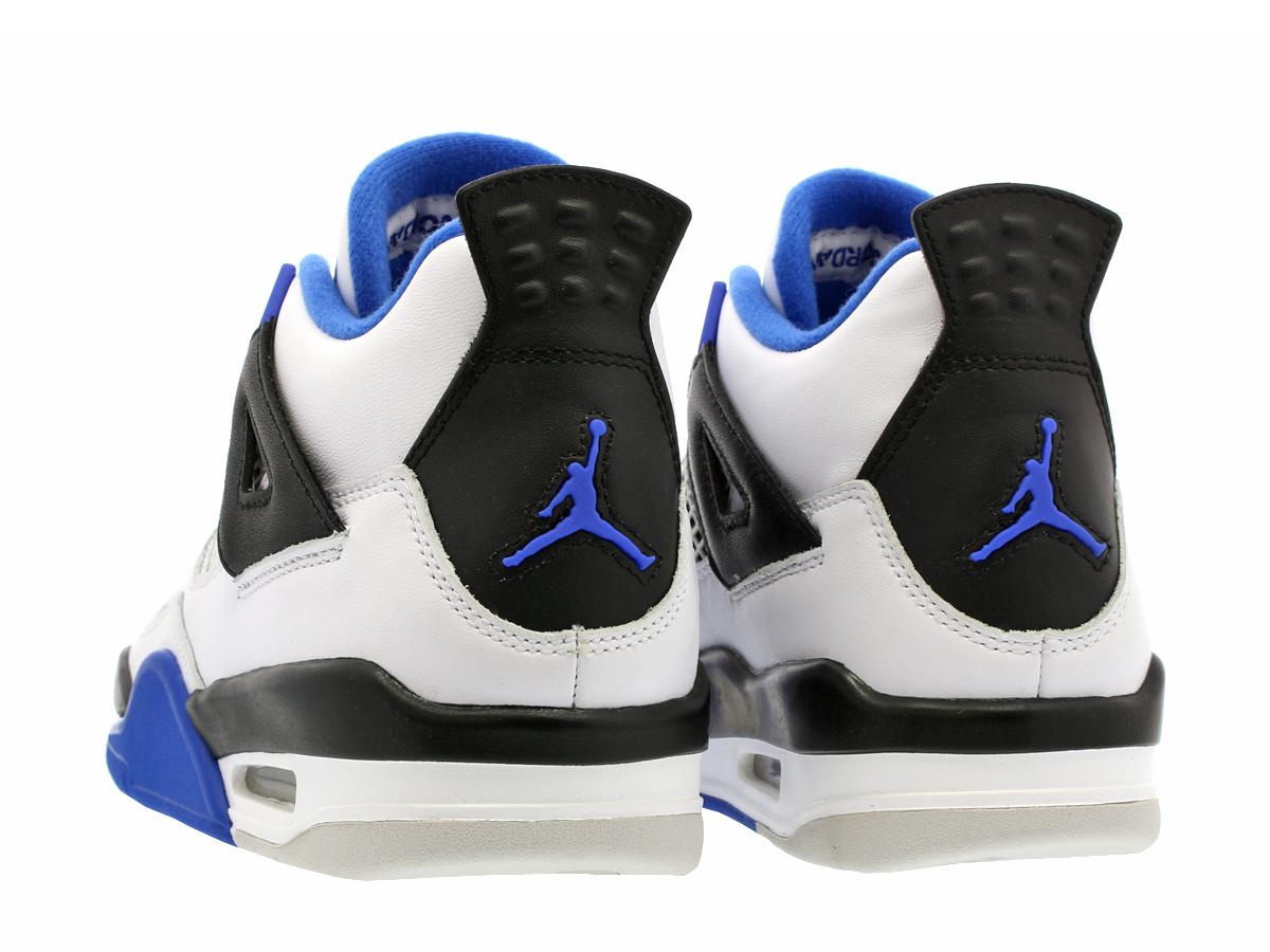 new style 17d6a 78a04 NIKE AIR JORDAN 4 RETRO BG Nike Air Jordan 4 nostalgic BG WHITE GAME ROYAL  BLACK