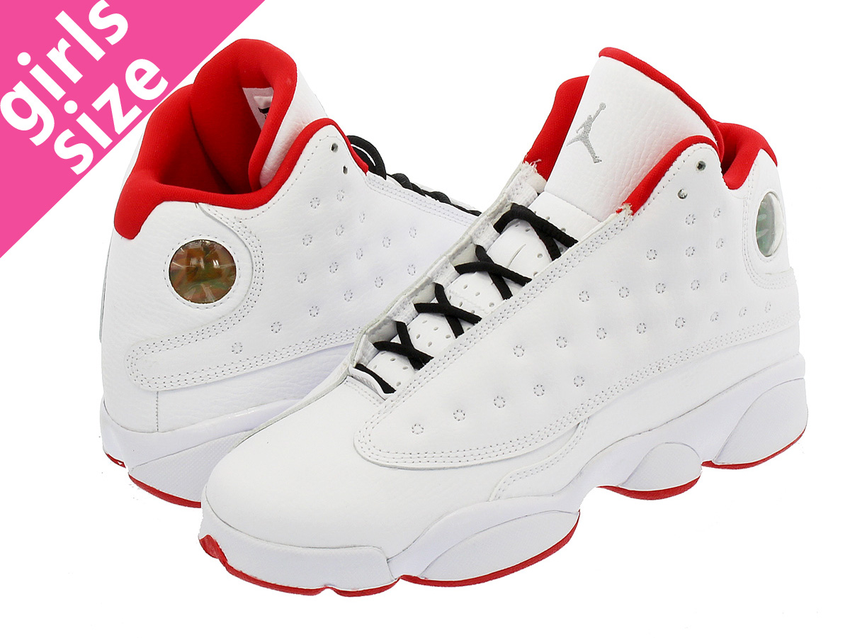 NIKE AIR JORDAN 13 RETRO BG Nike Air Jordan 13 nostalgic BG WHITE UNIVERSITY  RED METALLIC SILVER d3bb58524