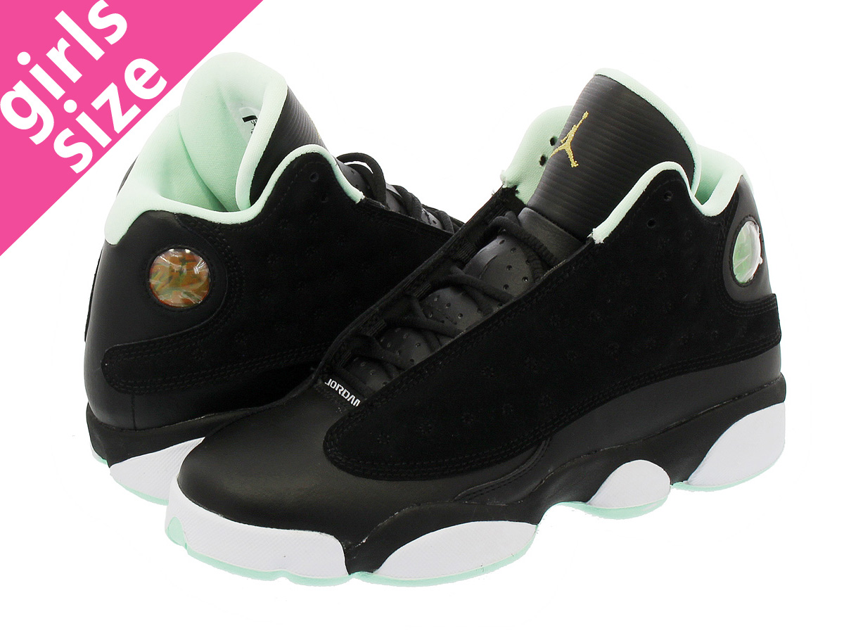100% top quality really comfortable the best attitude NIKE AIR JORDAN 13 RETRO GG Nike Air Jordan 13 nostalgic GG BLACK/METALLIC  GOLD/MINT FOAM 439,358-015