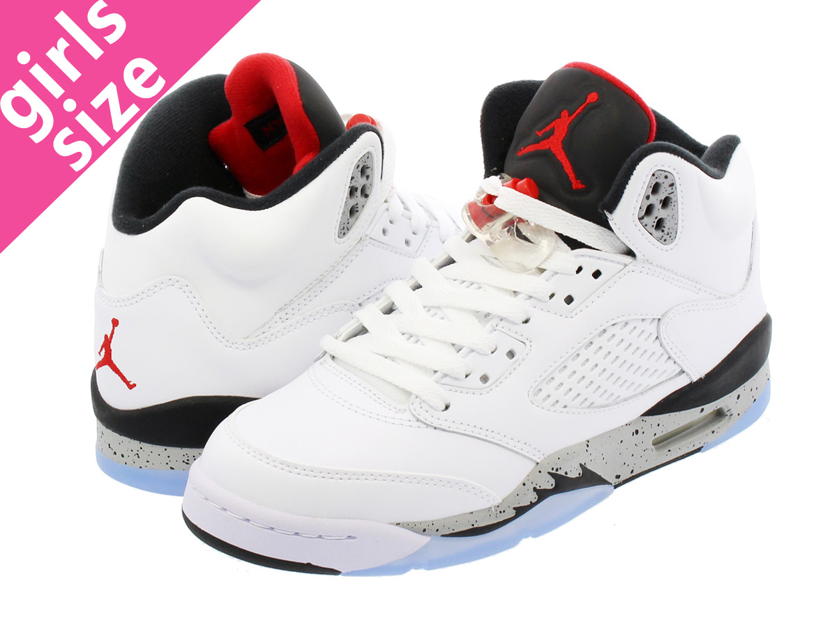 best service 03030 ec899 NIKE AIR JORDAN 5 RETRO BG Nike Air Jordan 5 nostalgic BG WHITE UNIVERSITY  RED BLACK METALLIC SILVER