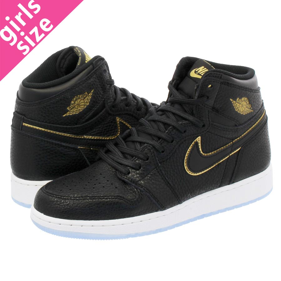 competitive price 82cd9 721aa NIKE AIR JORDAN 1 RETRO HIGH OG BG Nike Air Jordan 1 nostalgic high OG BG  BLACK METALLIC GOLD SUMMIT WHITE 575,441-031