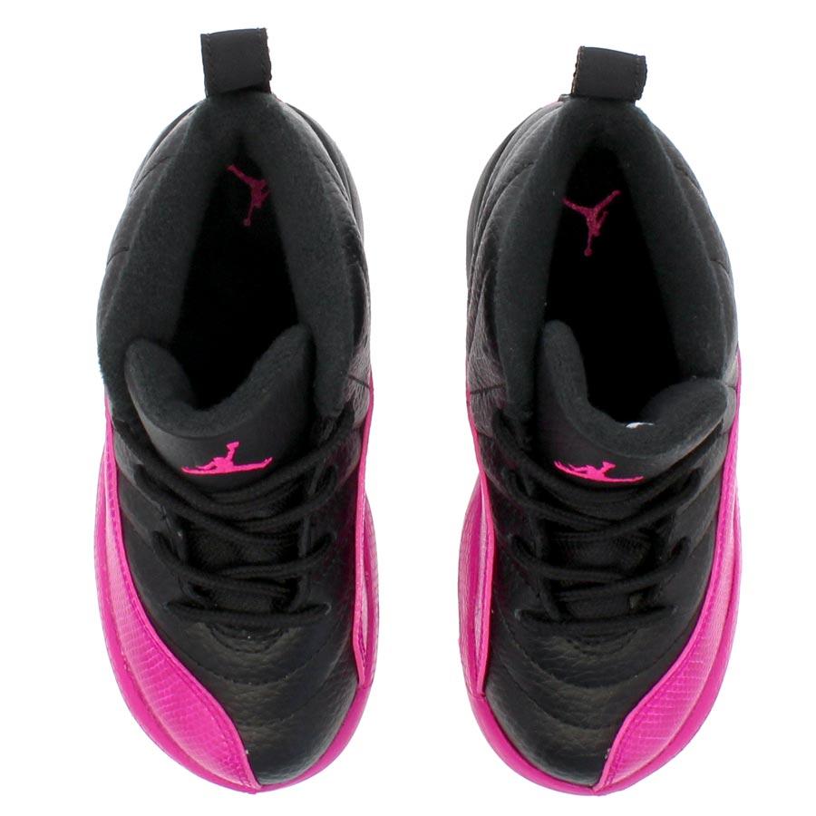 b77d718901f8b4 NIKE AIR JORDAN 12 RETRO TD Nike Air Jordan 12 nostalgic TD BLACK DEADLY  PINK