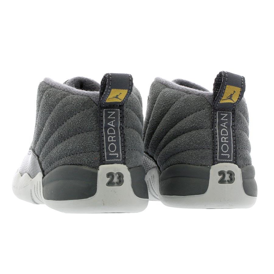 NIKE AIR JORDAN 12 RETRO TD Nike Air Jordan 12 nostalgic TD DARK GREY DARK  GREY WOLF GREY 3d3092fbd