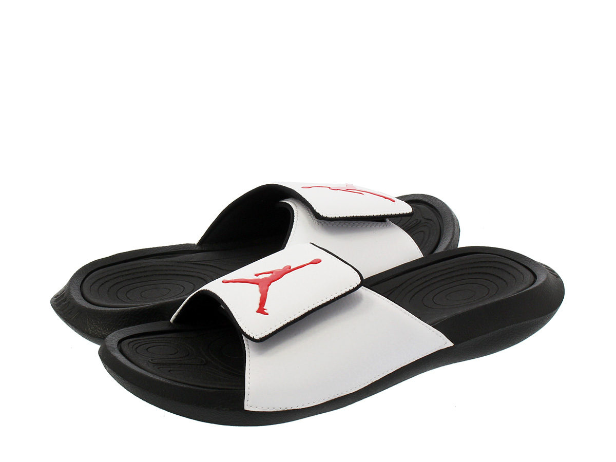 bd58fa0e5 NIKE JORDAN HYDRO 6 RETRO SLIDE Nike Jordan high mud 6 nostalgic slide BLACK  WHITE RED