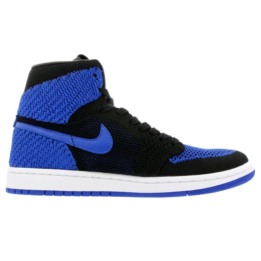 separation shoes 7cf0a 4b145 NIKE AIR JORDAN 1 RETRO HI FLYKNIT BG Nike Air Jordan 1 nostalgic high  fried food knit BG BLACK GAME ROYAL WHITE